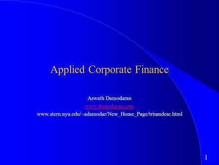 Applied Corporate <strong>Finance</strong>