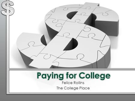 Felice Rollins The College Place. Financial aid application process Definitions Types and sources of financial aid Questions 1 2 3 4 Topics We Will Discuss.