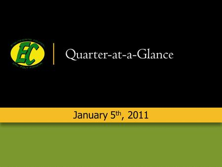 Quarter-at-a-Glance January 5 th, 2011. Andrea Ferris President Campus Appreciation Gifts.