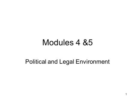 1 Modules 4 &5 Political and Legal Environment. 2 The Political Environment Political cultures provide context –Governing party's attitude toward Sovereignty.