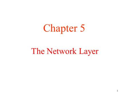 Chapter 5 The <strong>Network</strong> <strong>Layer</strong>.