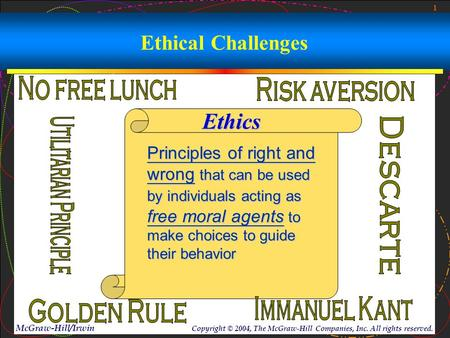 1 McGraw-Hill/Irwin Copyright © 2004, The McGraw-Hill Companies, Inc. All rights reserved. Ethical Challenges Ethics Principles of right and wrong that.