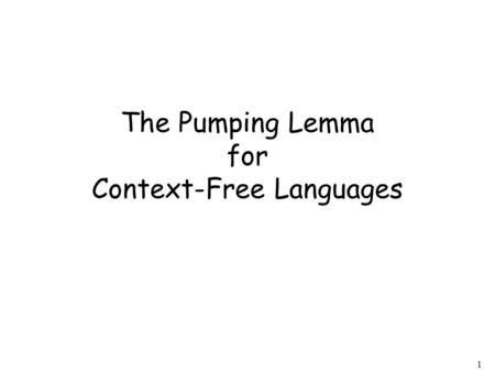 1 The Pumping Lemma for Context-Free Languages. 2 Take an infinite context-free language Example: Generates an infinite number of different strings.