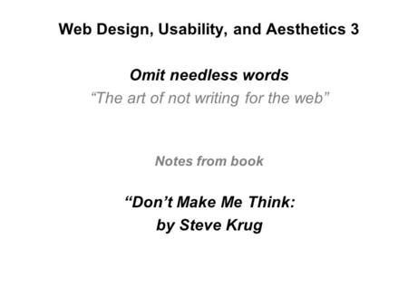 Web Design, Usability, and Aesthetics 3