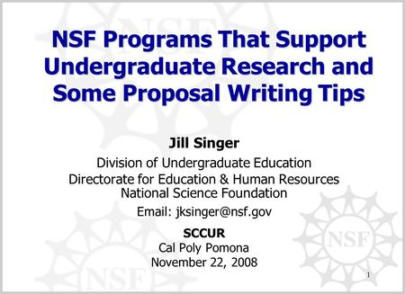 1 Jill Singer Division of Undergraduate Education Directorate for Education & Human Resources National Science Foundation   SCCUR.