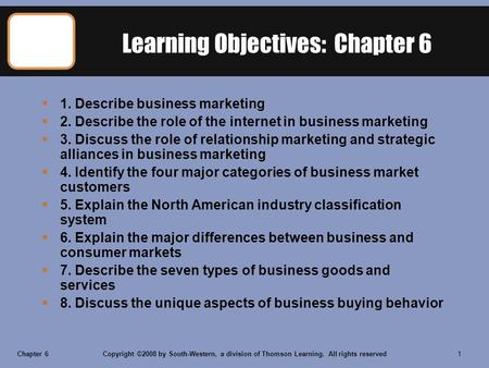 Chapter 6Copyright ©2008 by South-Western, a division of Thomson Learning. All rights reserved 1 Learning Objectives: Chapter 6  1. Describe business.