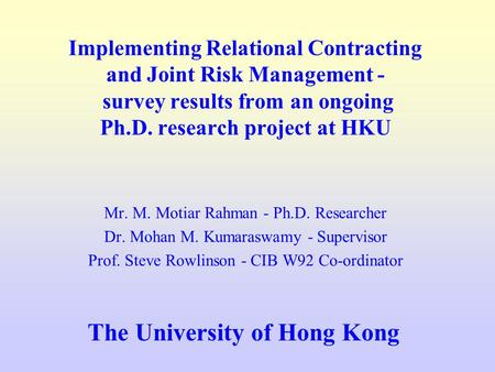 relational contracting in construction