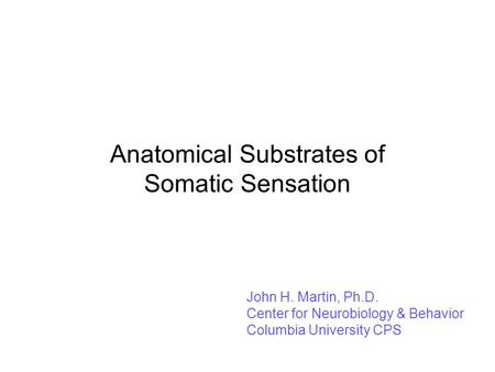 Anatomical Substrates of Somatic Sensation