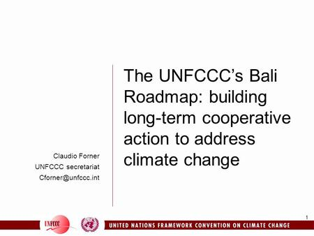 The UNFCCC's Bali Roadmap: building long-term cooperative action to address climate change Claudio Forner UNFCCC secretariat Cforner@unfccc.int 8 consultants.