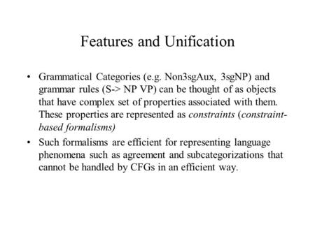 Features and Unification