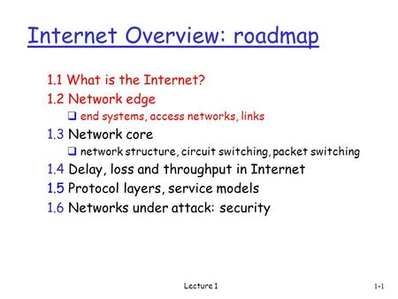 Lecture 1 Internet Overview: roadmap 1.1 What is the Internet? 1.2 Network edge  end systems, access networks, links 1.3 Network core  network structure,