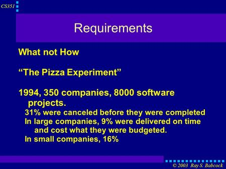 "CS351 © 2003 Ray S. Babcock Requirements What not How ""The Pizza Experiment"" 1994, 350 companies, 8000 software projects. 31% were canceled before they."
