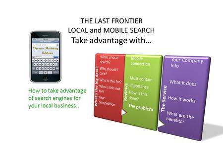 How to take advantage of search engines for your local business.. THE LAST FRONTIER LOCAL and MOBILE SEARCH Take advantage with…