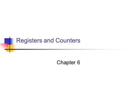 Registers and Counters