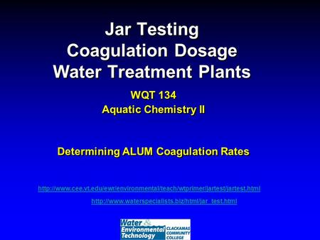 Jar Testing Coagulation Dosage Water Treatment Plants