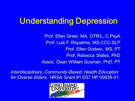 Understanding Depression Interdisciplinary, Community-Based, Health Education for Diverse Elders. HRSA Grant #1 D37 HP 00838-01. Prof. Ellen Greer, MA,