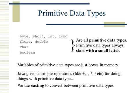Primitive Data Types byte, short, int, long float, double char boolean Are all primitive data types. Primitive data types always start with a small letter.