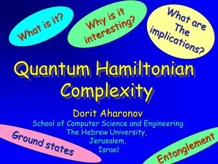 1 Dorit Aharonov School of Computer Science and Engineering The Hebrew University, Jerusalem, Israel Israel Quantum Hamiltonian Complexity Complexity What.