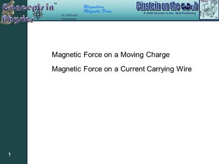Magnetism Magnetic Force 1 Magnetic Force on a Moving Charge Magnetic Force on a Current Carrying Wire.