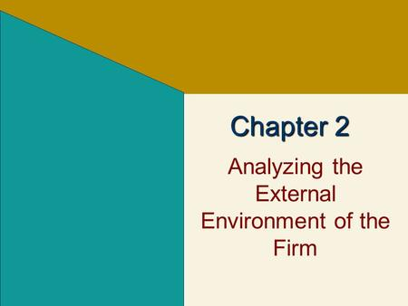 Analyzing the External Environment of the Firm