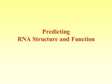 Predicting RNA Structure and Function. Nobel prize 1989Nobel prize 2009 Ribozyme Ribosome RNA has many biological functions The function of the RNA molecule.