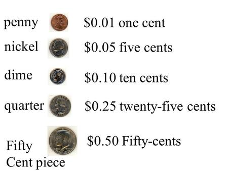 $0.01 one cent penny $0.05 five cents nickel $0.10 ten cents dime
