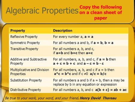 Algebraic Properties Copy the following on a clean sheet of paper PropertyDescription Reflexive PropertyFor every number a, a = a Symmetric PropertyFor.