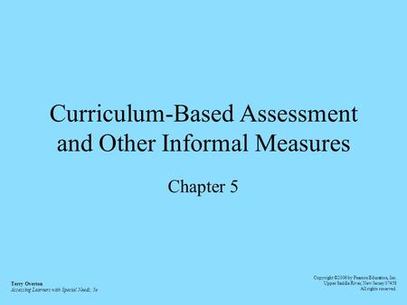 Curriculum-Based Assessment and Other Informal Measures