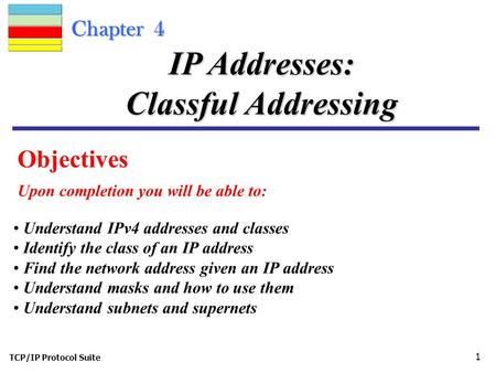 TCP/IP Protocol Suite 1 Chapter 4 Objectives Upon completion you will be able to: IP Addresses: Classful Addressing Understand IPv4 addresses and classes.