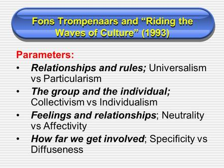 "Fons Trompenaars and ""Riding the Waves of Culture"" (1993) Parameters: Relationships and rules; Universalism vs Particularism The group and the individual;"