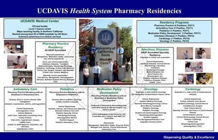 UCDAVIS Health System Pharmacy Residencies Dispensing Quality & Excellence Pharmacy Practice Residency All ASHP Accredited Required experiences: Management,
