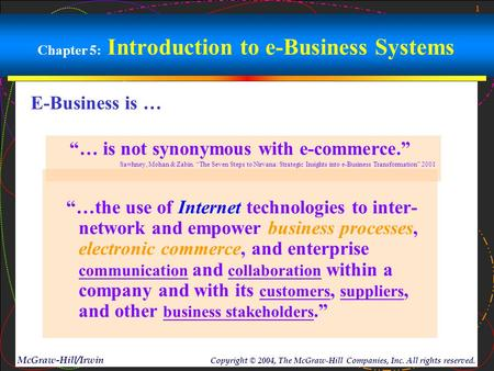 "1 McGraw-Hill/Irwin Copyright © 2004, The McGraw-Hill Companies, Inc. All rights reserved. Chapter 5: Introduction to e-Business Systems ""…the use of Internet."