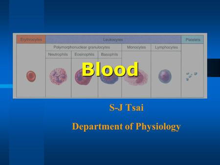Blood S-J Tsai Department of Physiology. Composition Composed of cells (erythrocytes, leukocytes, and platelets) and plasma (the liquid in which the cells.