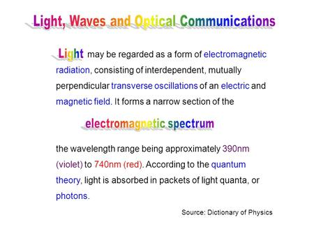 May be regarded as a form of electromagnetic radiation, consisting of interdependent, mutually perpendicular transverse oscillations of an electric and.