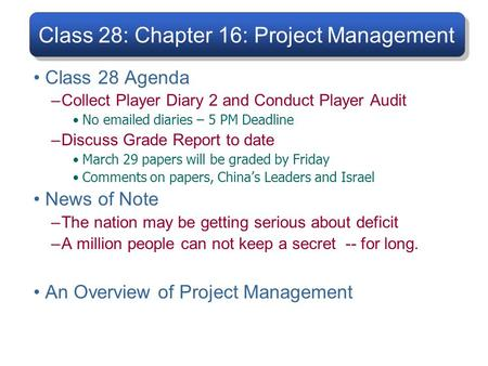 Class 28: Chapter 16: Project Management Class 28 Agenda –Collect Player Diary 2 and Conduct Player Audit No emailed diaries – 5 PM Deadline –Discuss Grade.