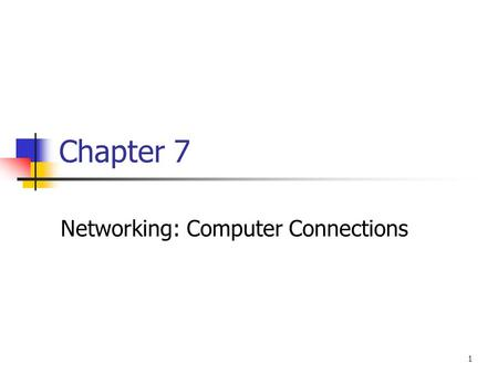 1 Chapter 7 Networking: Computer Connections. Basic Components of a Network Sending device Communications link Receiving device.