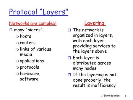 "1: Introduction1 Protocol ""Layers"" Networks are complex! r many ""pieces"": m hosts m routers m links of various media m applications m protocols m hardware,"
