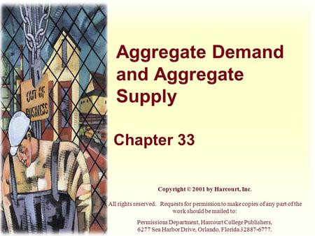 Aggregate Demand and Aggregate Supply Chapter 33 Copyright © 2001 by Harcourt, Inc. All rights reserved. Requests for permission to make copies of any.