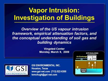 Vapor Intrusion: Investigation of Buildings Overview of the US vapour intrusion framework, empirical attenuation factors, and the conceptual understanding.