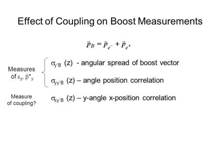 Effect of Coupling on Boost Measurements  y'B (z) - angular spread of boost vector  yy'B (z) – angle position correlation  xy'B (z) – y-angle x-position.