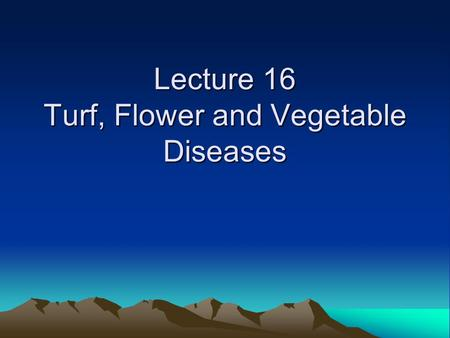 Lecture 16 Turf, Flower and Vegetable Diseases. Turf diseases Turf diseases Fusarium patch, red thread disease, fairy rings and thatch are common in Seattle.