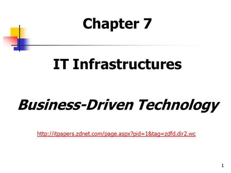 1 Chapter 7 IT Infrastructures Business-Driven Technology