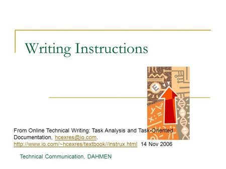 Writing Instructions From Online Technical Writing: Task Analysis and Task-Oriented Documentation, hcexres@io.com. http://www.io.com/~hcexres/textbook//instrux.html.