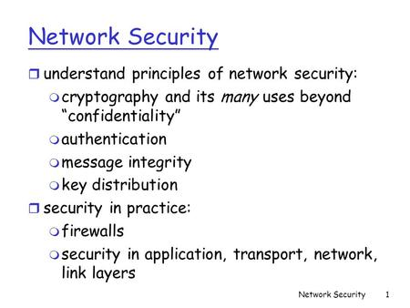 Network Security understand principles of network security: