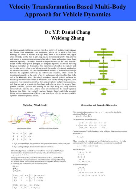Dr. Y.P. Daniel Chang Weidong Zhang Velocity Transformation Based Multi-Body Approach for Vehicle Dynamics Abstract: An automobile is a complex close loop.