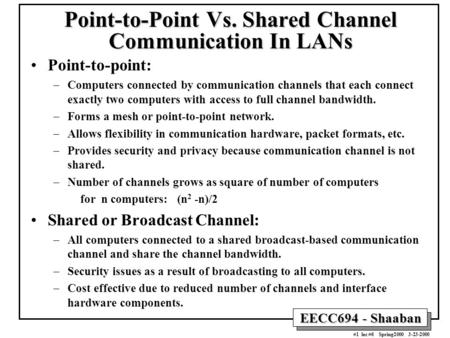 EECC694 - Shaaban #1 lec #6 Spring2000 3-23-2000 Point-to-Point Vs. Shared Channel Communication In LANs Point-to-point: –Computers connected by communication.