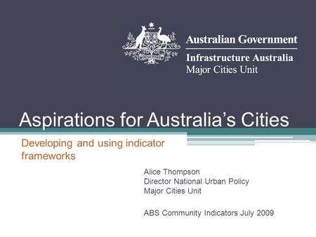 Aspirations for Australia's Cities