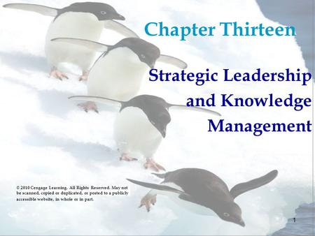 1 Chapter Thirteen Strategic Leadership and Knowledge Management © 2010 Cengage Learning. All Rights Reserved. May not be scanned, copied or duplicated,