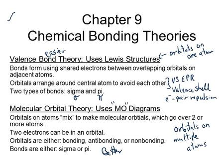 Chapter 9 Chemical Bonding Theories Valence Bond Theory: Uses Lewis Structures Bonds form using shared electrons between overlapping orbitals on adjacent.
