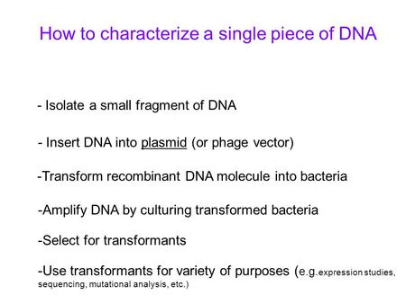 How to characterize a single piece of DNA - Isolate a small fragment of DNA - Insert DNA into plasmid (or phage vector) -Transform recombinant DNA molecule.